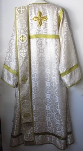 Deacon Vestments White and gold back